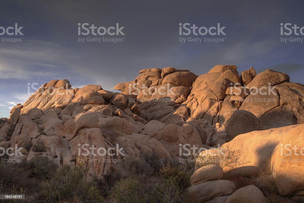 Granite Boulders HDR at Hidden Valley, Joshua Tree National Park stock photo
