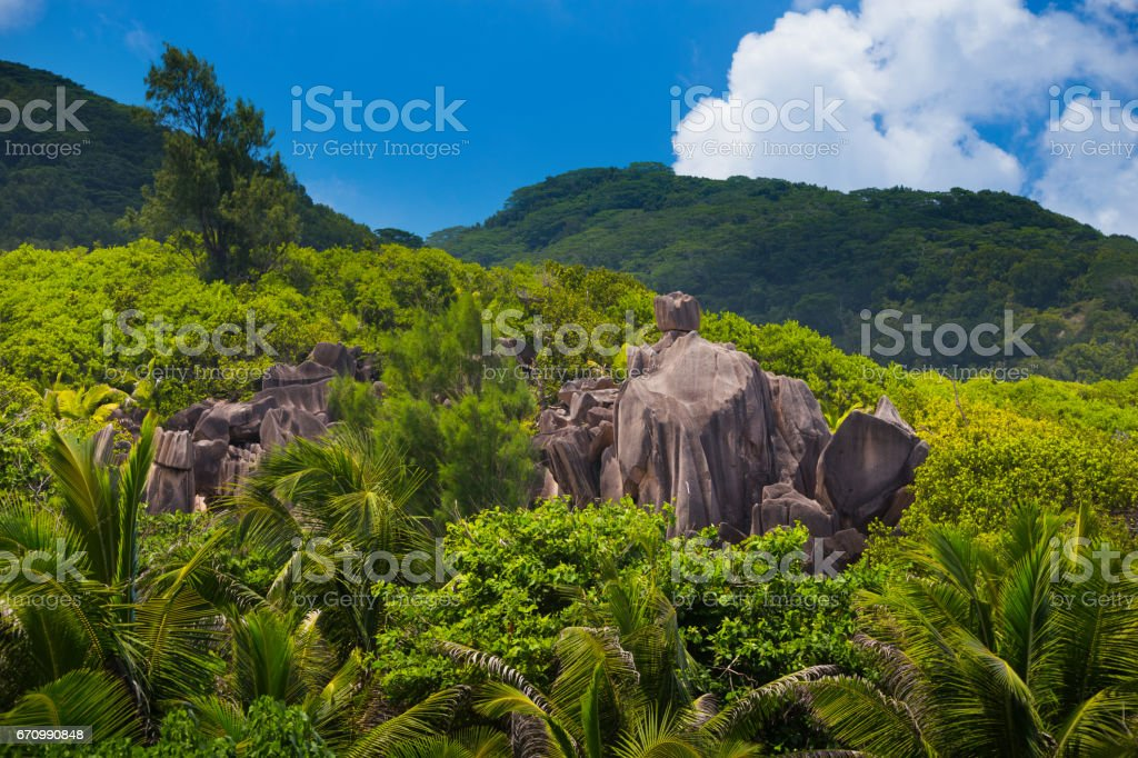 Granite boulders of Seychelles stock photo