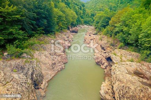 Granite canyon of river White. Khamyshki, Adygea Republic, Russia
