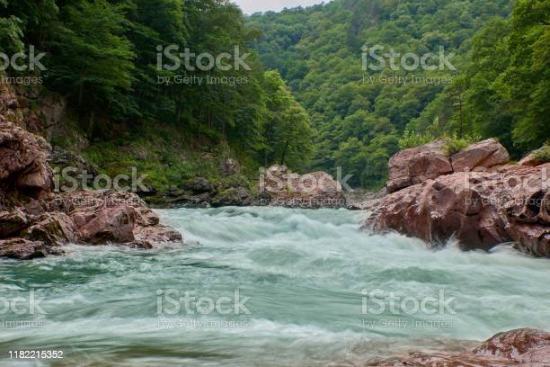 Photo of Granite canyon of the river Belaya. Monument of nature. Located in Russia, in the North Caucasus.