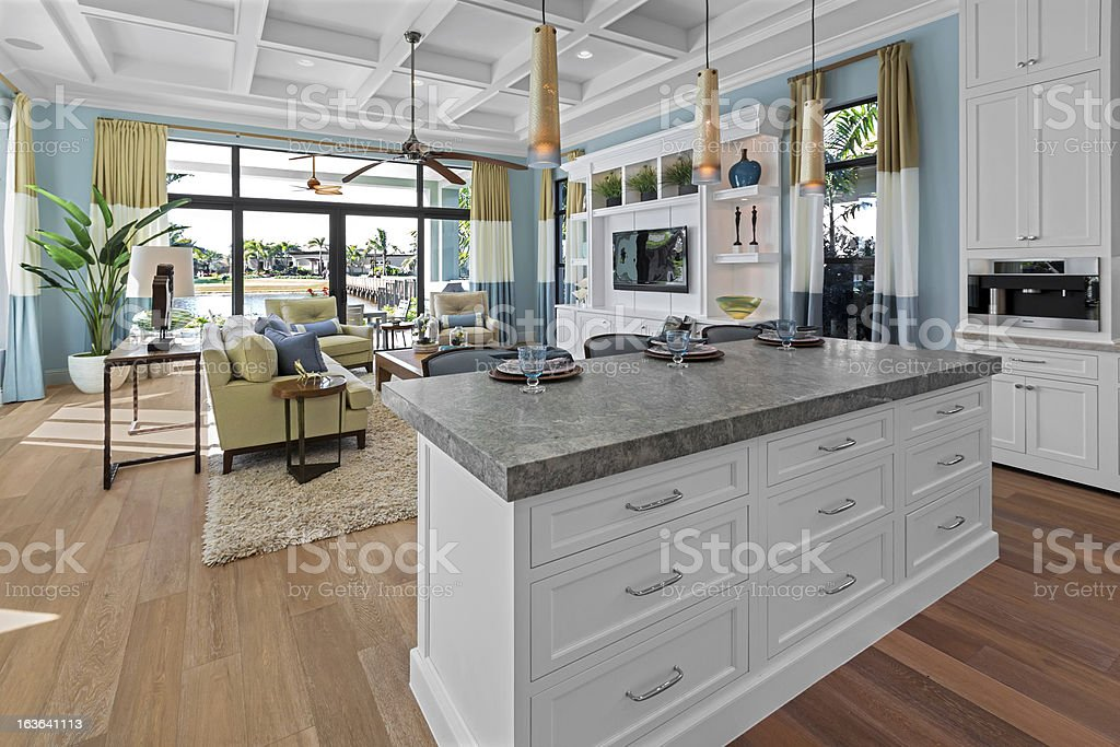 A granite counter in newly remodeled kitchen and den. royalty-free stock photo