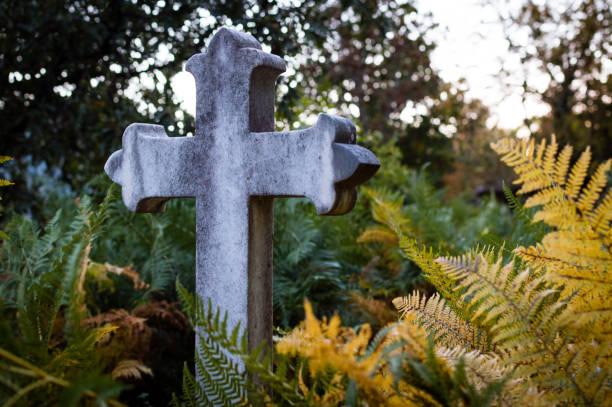 granit kreuz in der mitte eines verlassenen friedhof, umgeben von grünen und gelben farne im herbst - trauer abschied tod stock-fotos und bilder