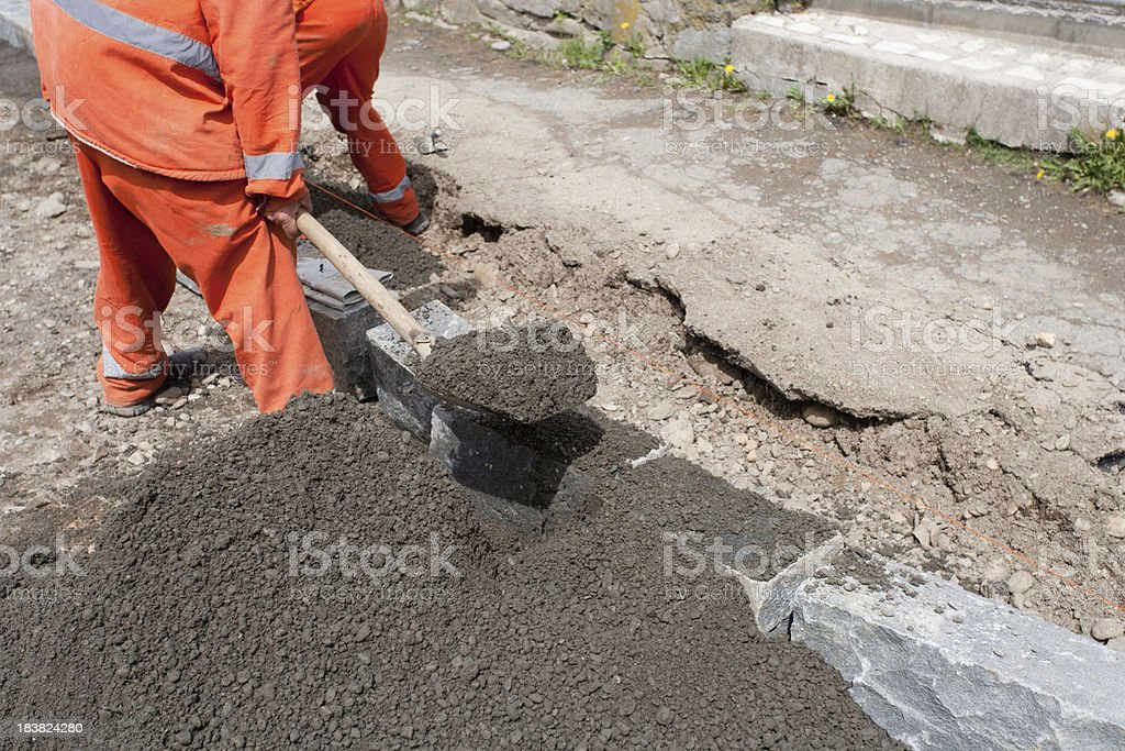Granite Curbs on Construction Site royalty-free stock photo