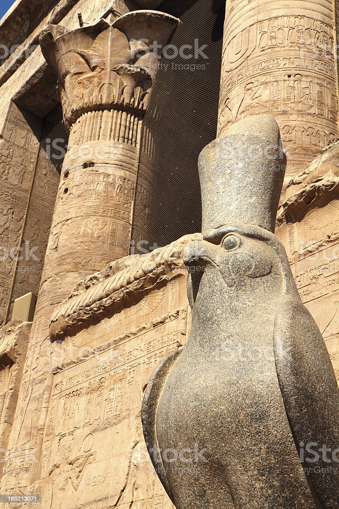 Granite Falcon God, Temple of Horus, Edfu Egypt stock photo