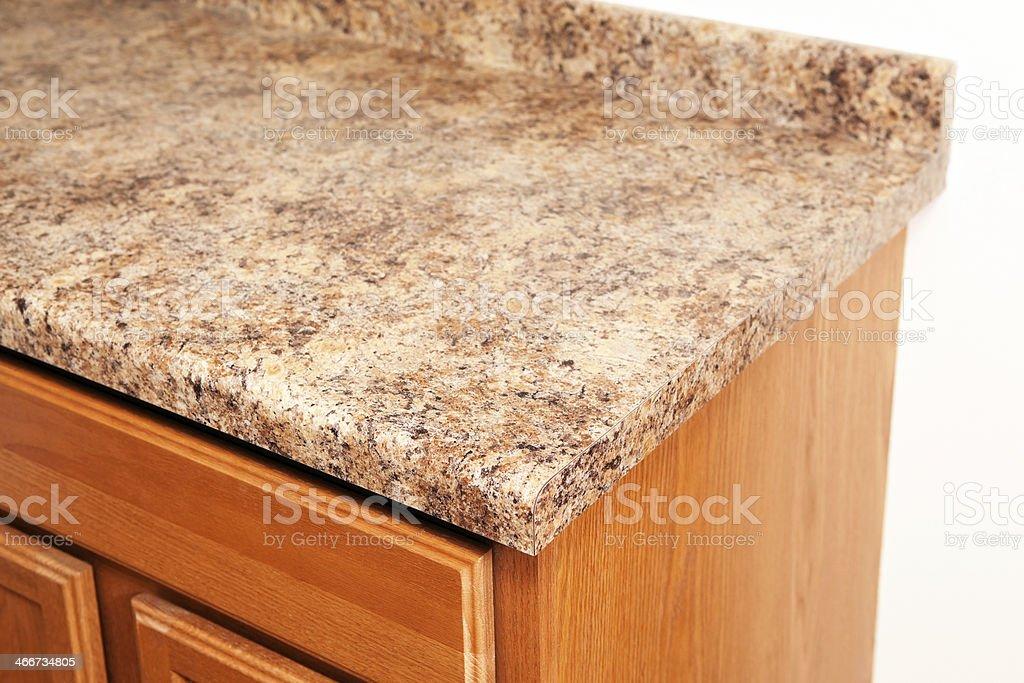 Granite Laminat Kuche Arbeitsplatte Cornerdetail Stock Fotografie