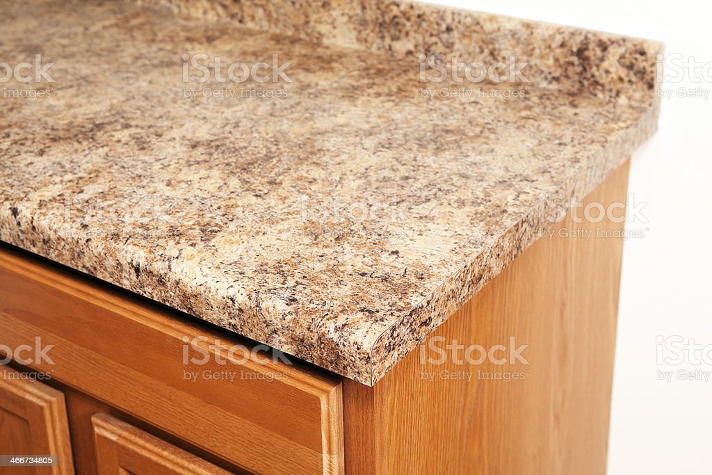 Granite Laminate Kitchen Counter Top Corner Detail stock photo