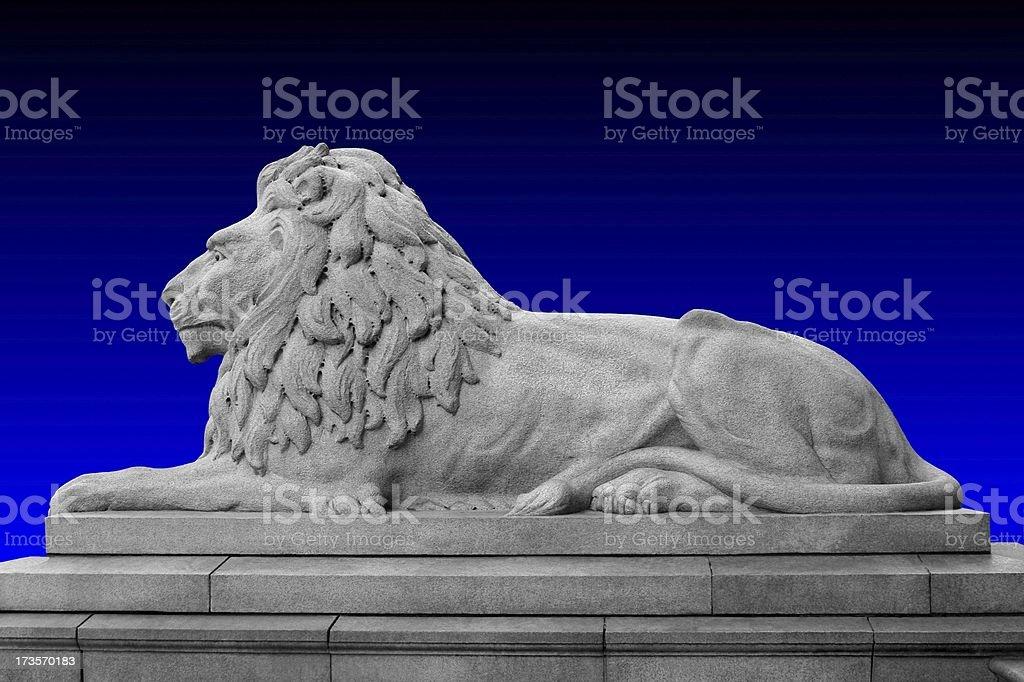 Granite Lion On Blue royalty-free stock photo