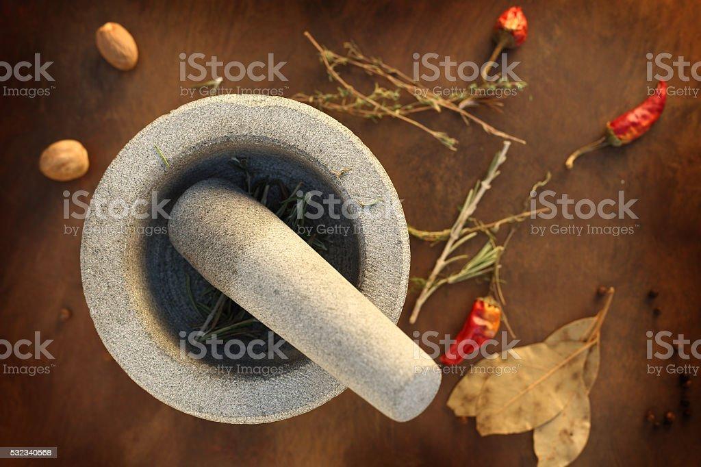 granite mortar stock photo