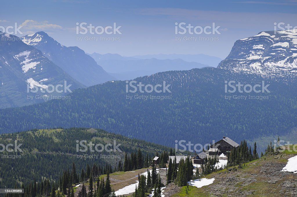 Granite Park Chalet Glacier NP Mountain View royalty-free stock photo