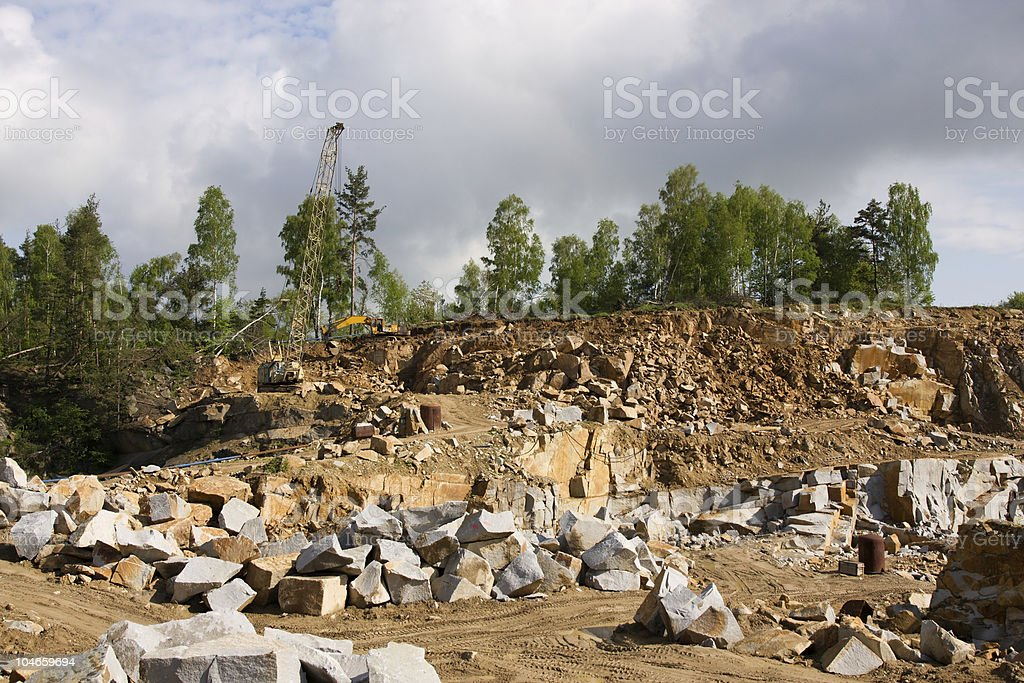 Granite quarry mining royalty-free stock photo