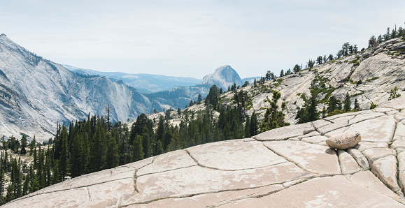 Aerial view at Yosemite National Park, California, USA, seen at summer. The landscape is filled with granite rocks.