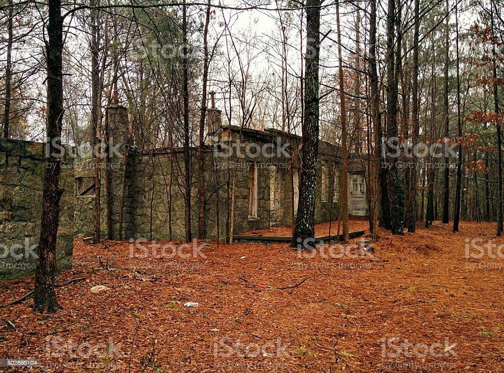Granite Ruins in the Woods stock photo