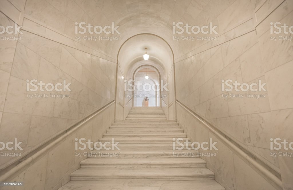 Granite Staircase in the Supreme Court of the United States in Washington, DC stock photo