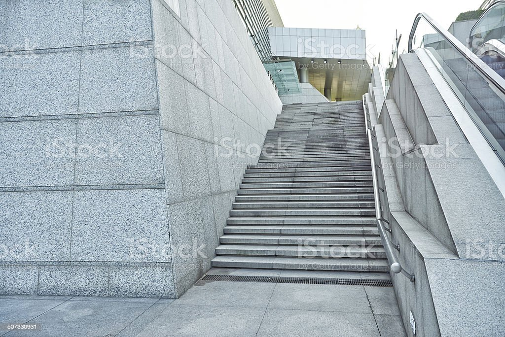 Granite Stairs And Concrete Wall Stock Photo   Download ...