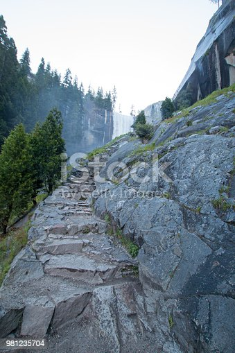 Granite stone steps leading up to Vernal Falls on the Mist hiking trail in Yosemite National Park in California USA