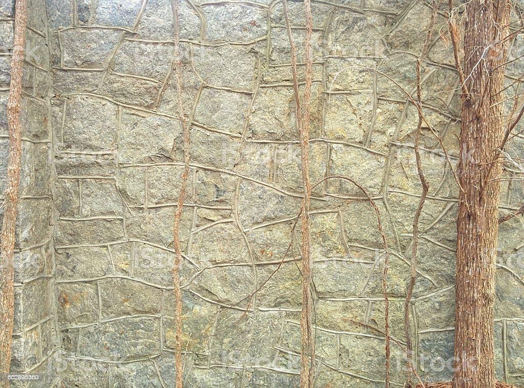 Granite Stone Wall stock photo