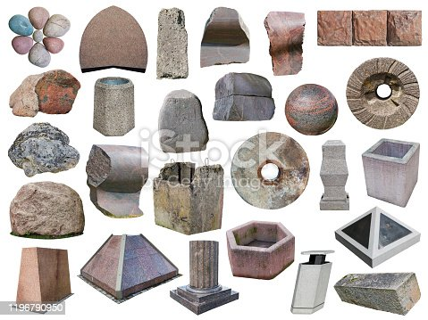 Granite stones boulders of various forms colors  and sizes. Isolated on whiteset from outdoor objects