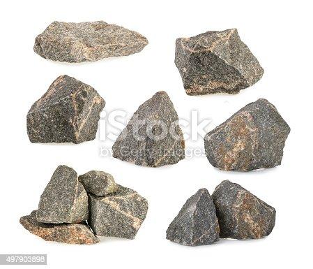 Granite stones, rocks set isolated on white background