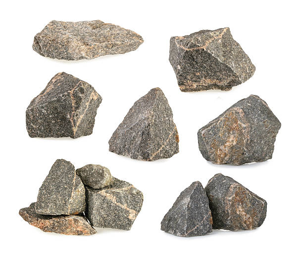 granite stones, rocks set isolated on white background - rock object stock pictures, royalty-free photos & images