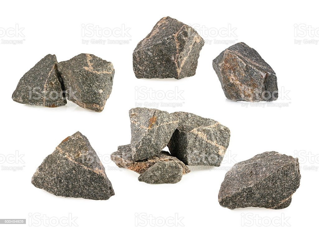 Granite stones, rocks set isolated on white background stock photo