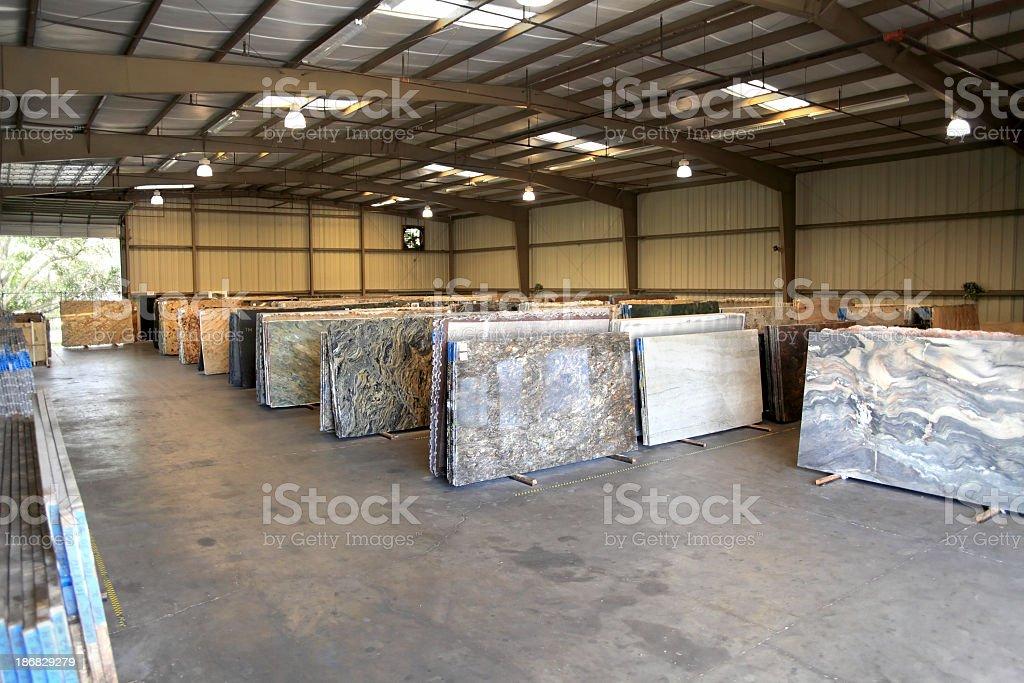 granite warehouse stock photo