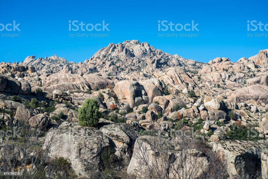 Granitic rock formations in La Pedriza stock photo