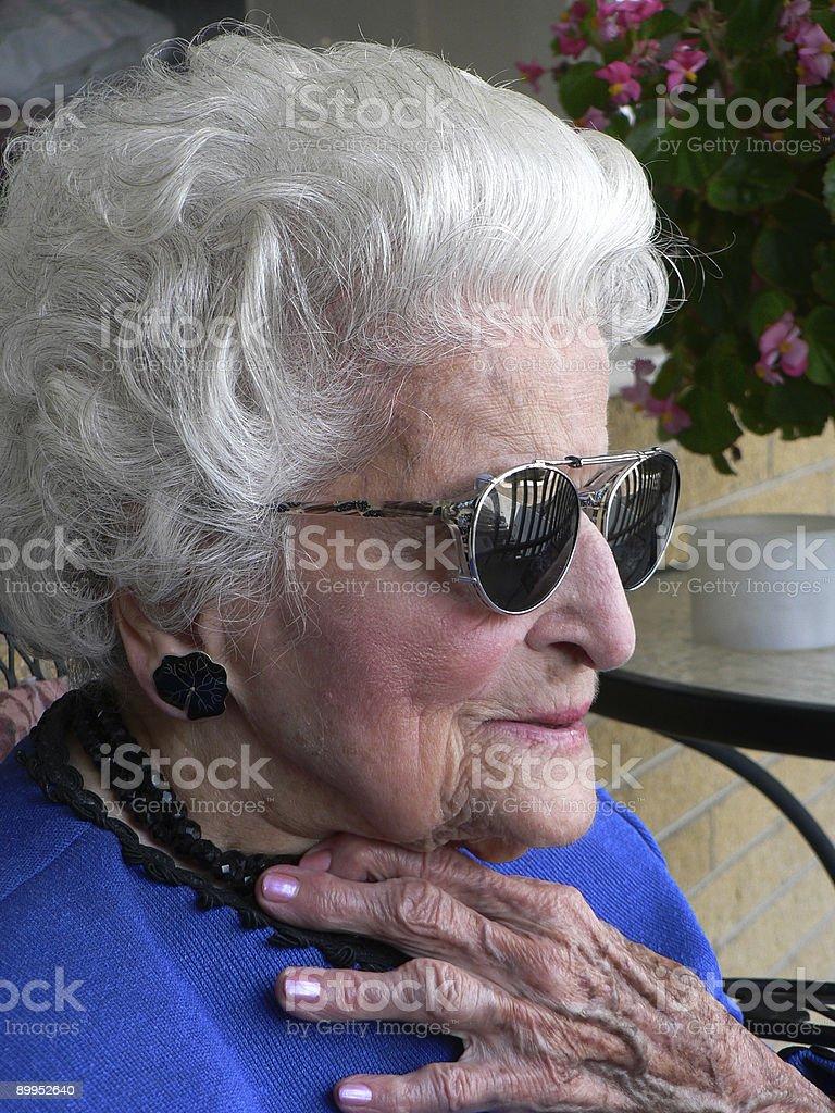 Granny In sunglasses stock photo