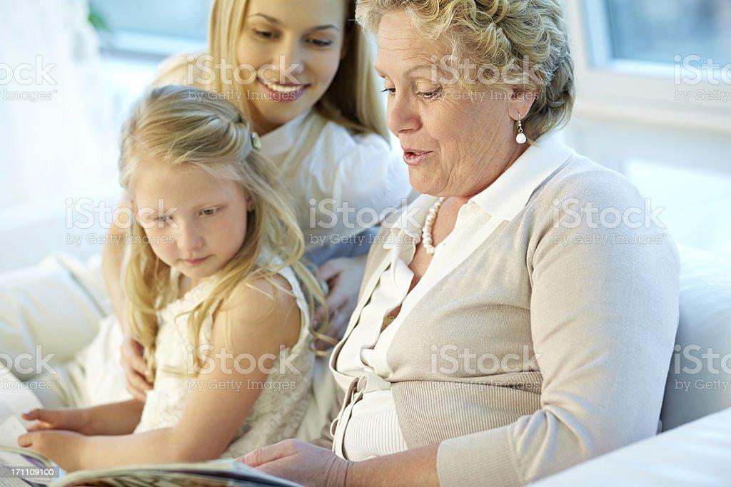 Granny reading royalty-free stock photo