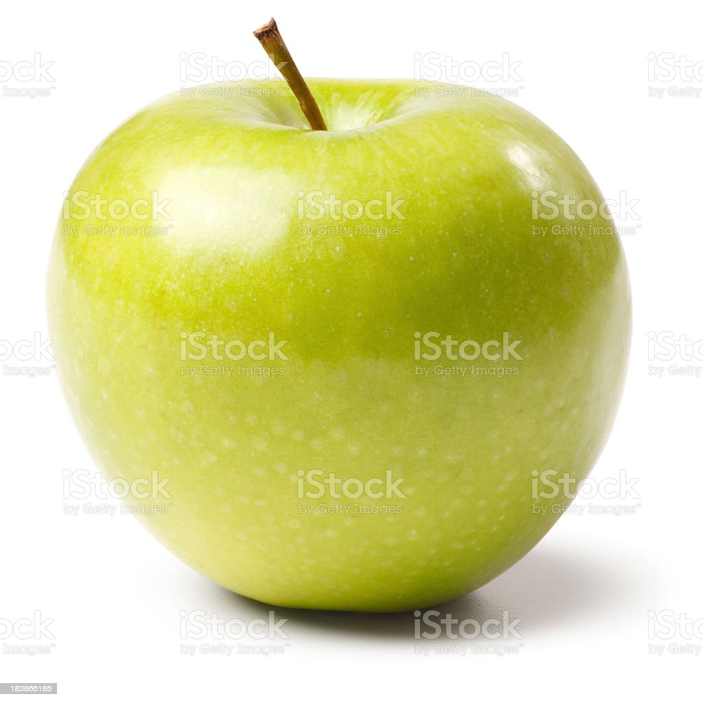 Granny Smith Apple Isolated + Clipping Path royalty-free stock photo