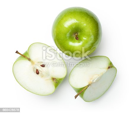 Fresh granny smith apples on white background. Top view