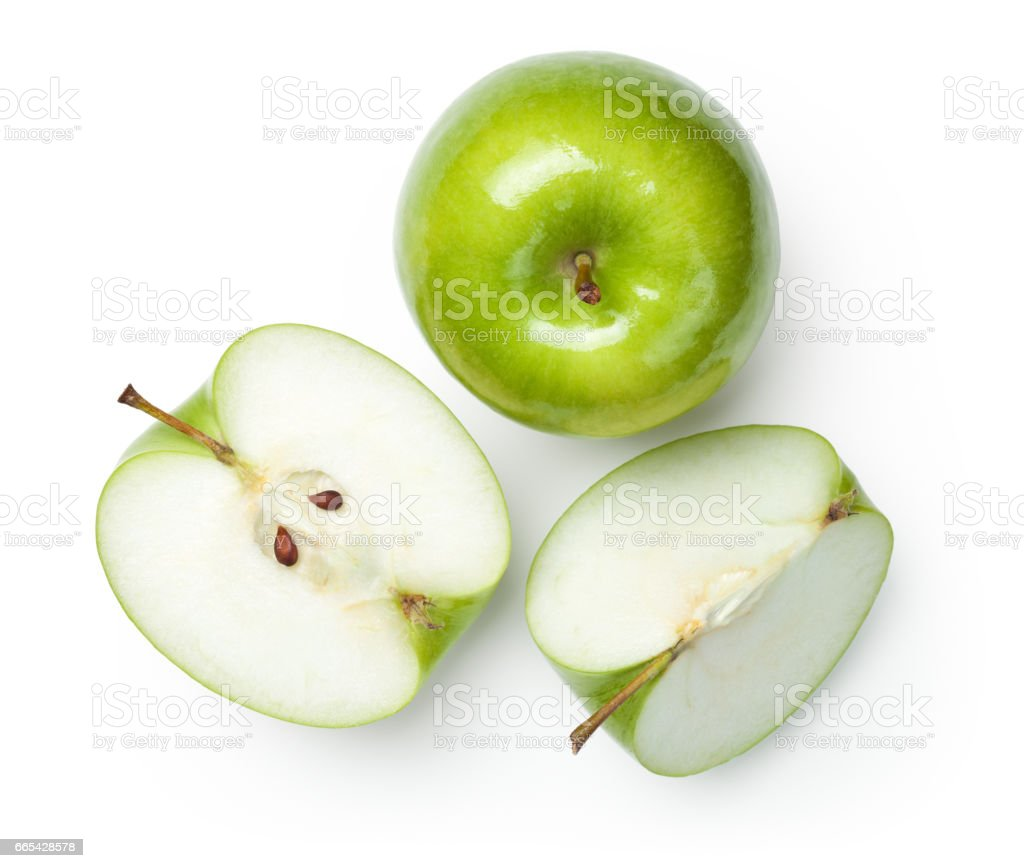 Granny Smith Apples on White stock photo