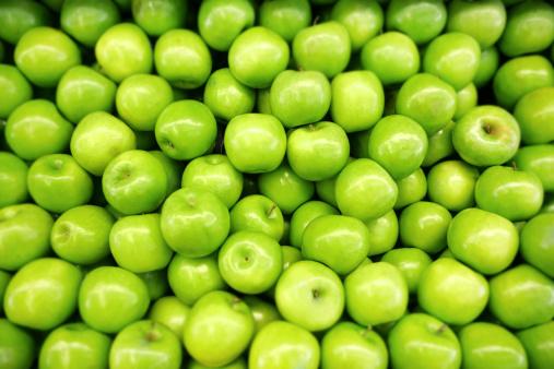 Green apples.  Shallow DOF