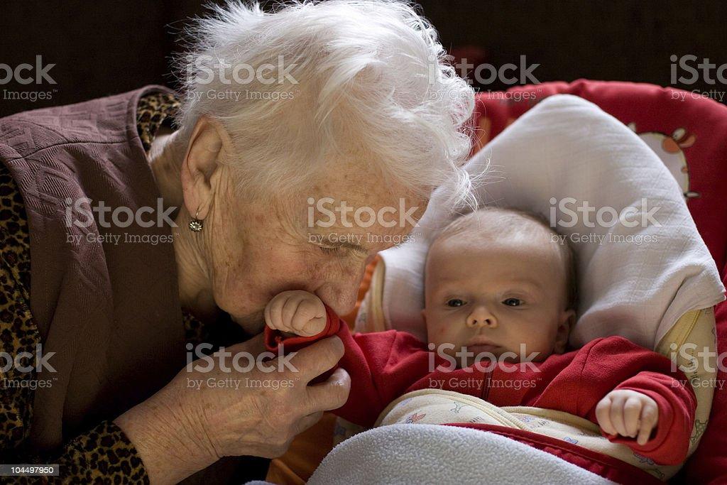 Granny with child stock photo