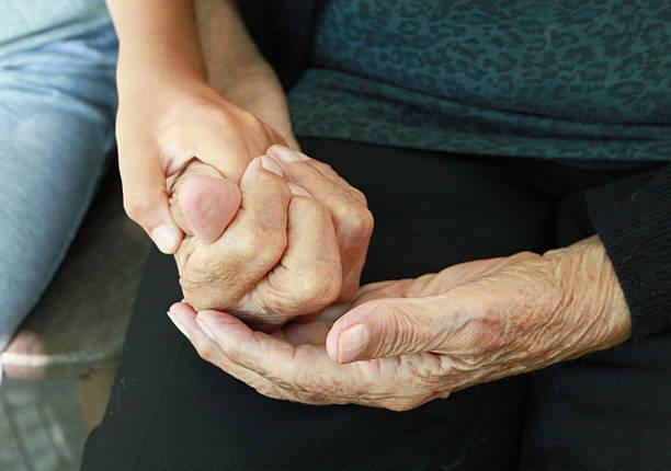 Granny's hands stock photo