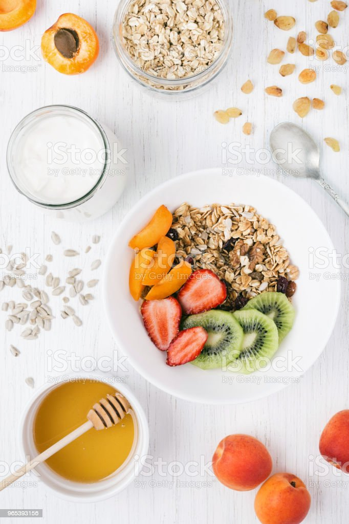 Granola and yoghurt on the table. royalty-free stock photo