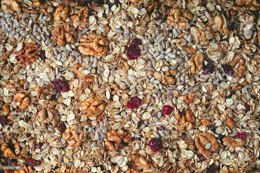 Granola background close-up – Foto