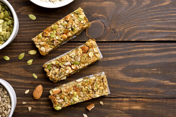 Granola bar. Healthy snack stock photo