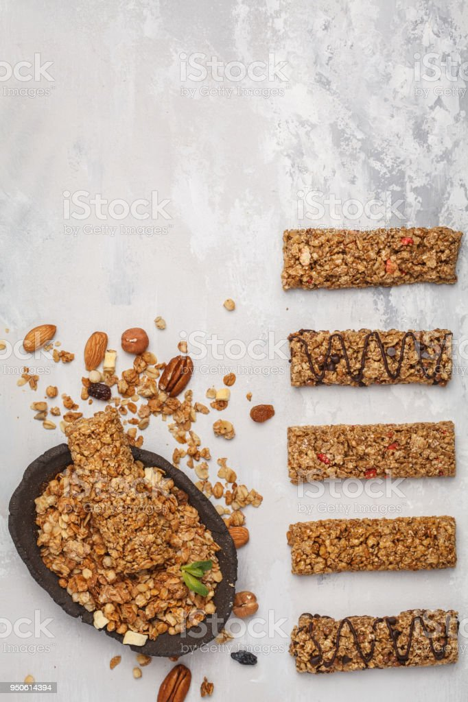 Granola Bars And Ingredients Healthy Sweet Dessert Snack Cereal