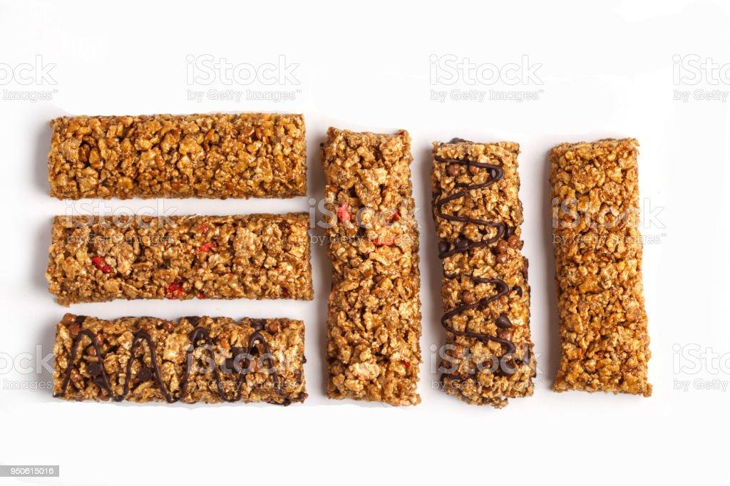 Granola Bars Isolated On White Background Healthy Vegan Sweet