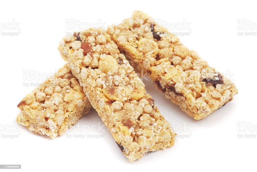 Granola bars isolated on white royalty-free stock photo