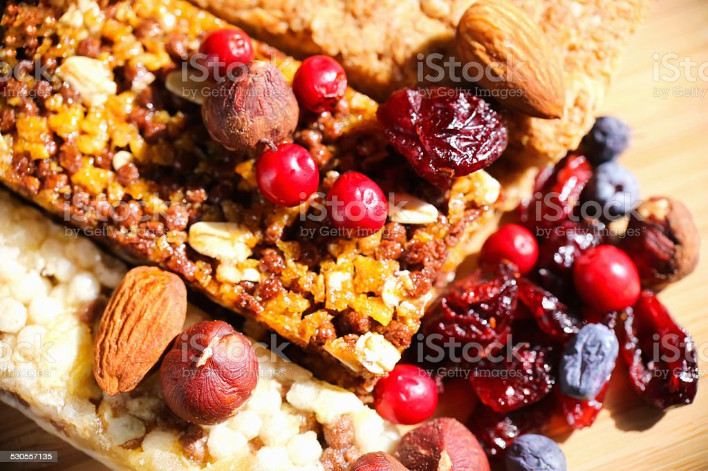 Granola Bars with Cranberries, Almonds and Raisins stock photo