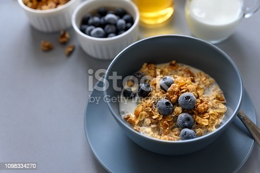 599887760istockphoto Granola bowl (oatmeal porridge) with blueberry, honey and milk on gray table. Flat lay. Selective focus. Healthy vegetarian food 1098334270
