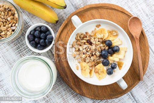 599887760 istock photo Granola bowl with milk, blueberries, banana 1144262015