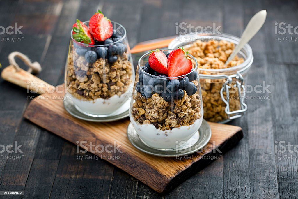 granola breakfast stock photo