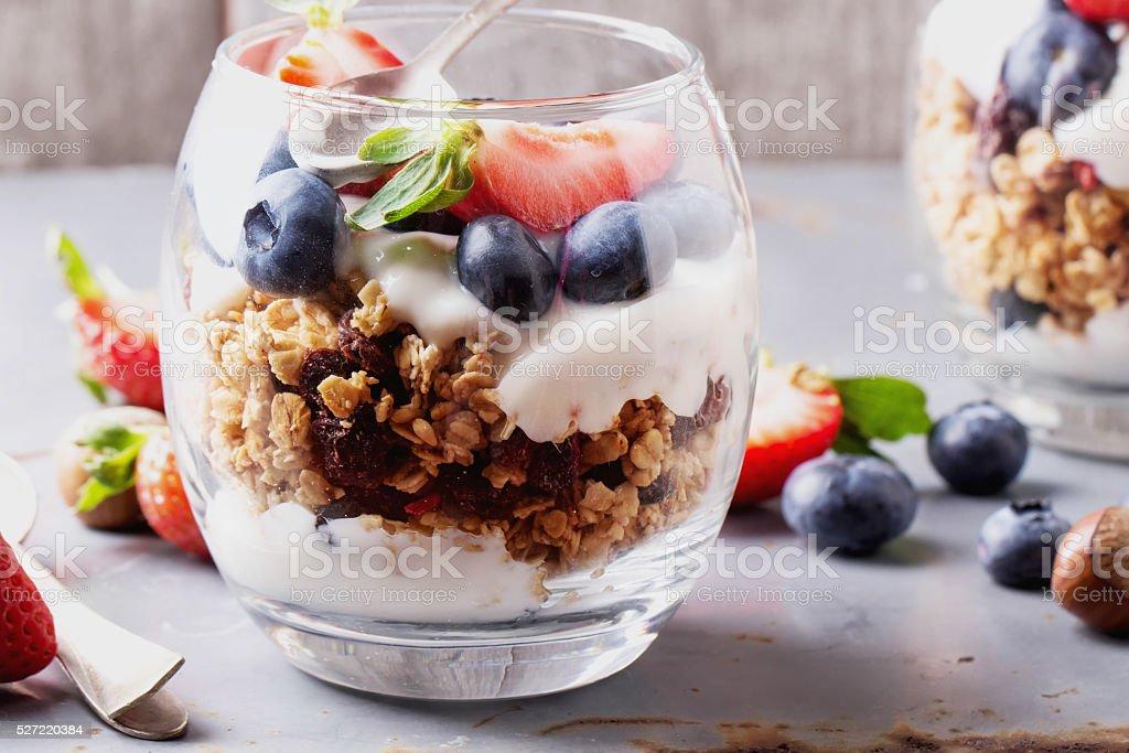 Granola Breakfast with Berries and Yogurt stock photo