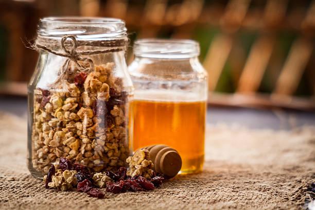 Granola, Cranberries and Honey stock photo