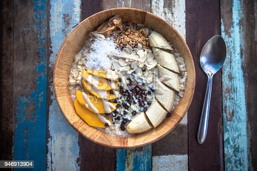 Granola fruit yogurt for breakfast