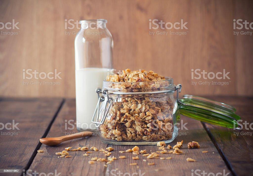 Granola in a jar stock photo