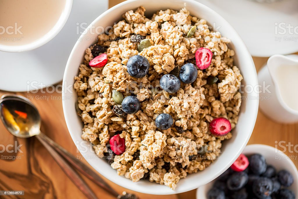 Granola made from Oat Porridge, Nuts, Seeds, Berries stock photo