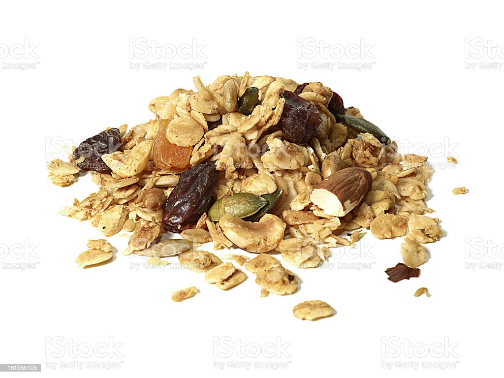 Granola on white background stock photo